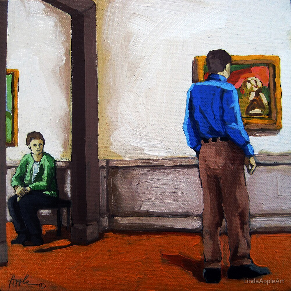 Mutual Interest - art museum viewing art by LindaAppleArt