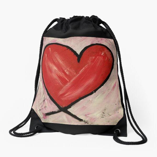 Heart Painting Drawstring Bag