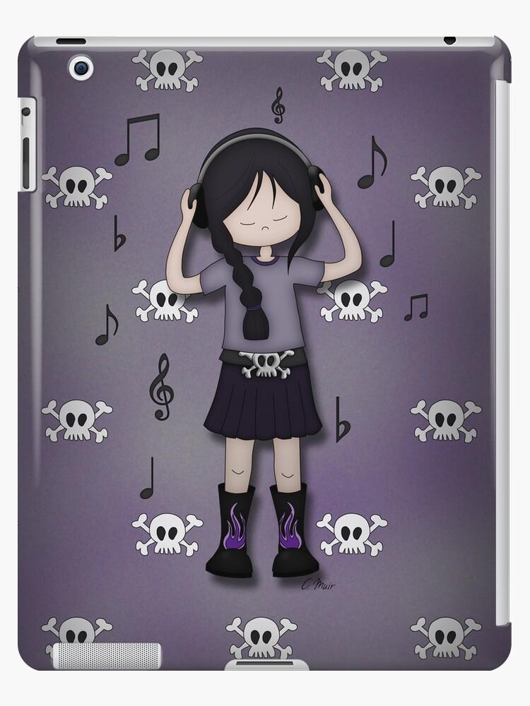 Emo Goth Girl with Music Headphones by ArtformDesigns