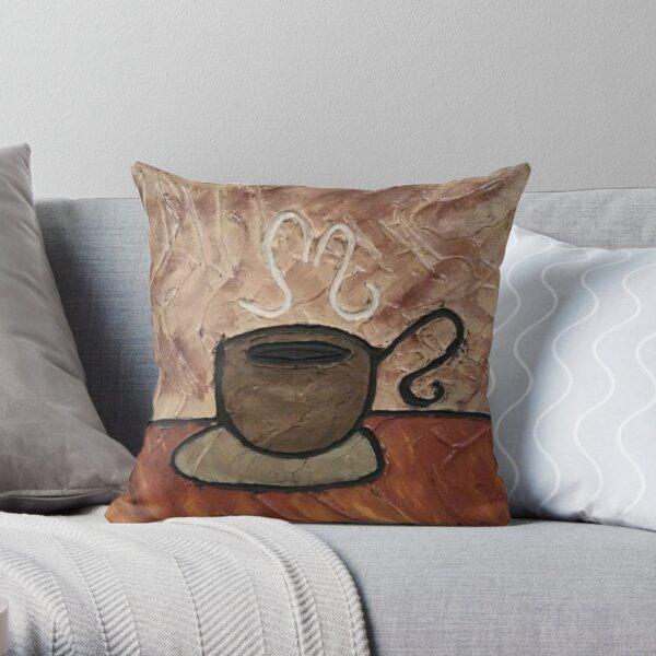 Coffee Cup Painting Throw Pillow