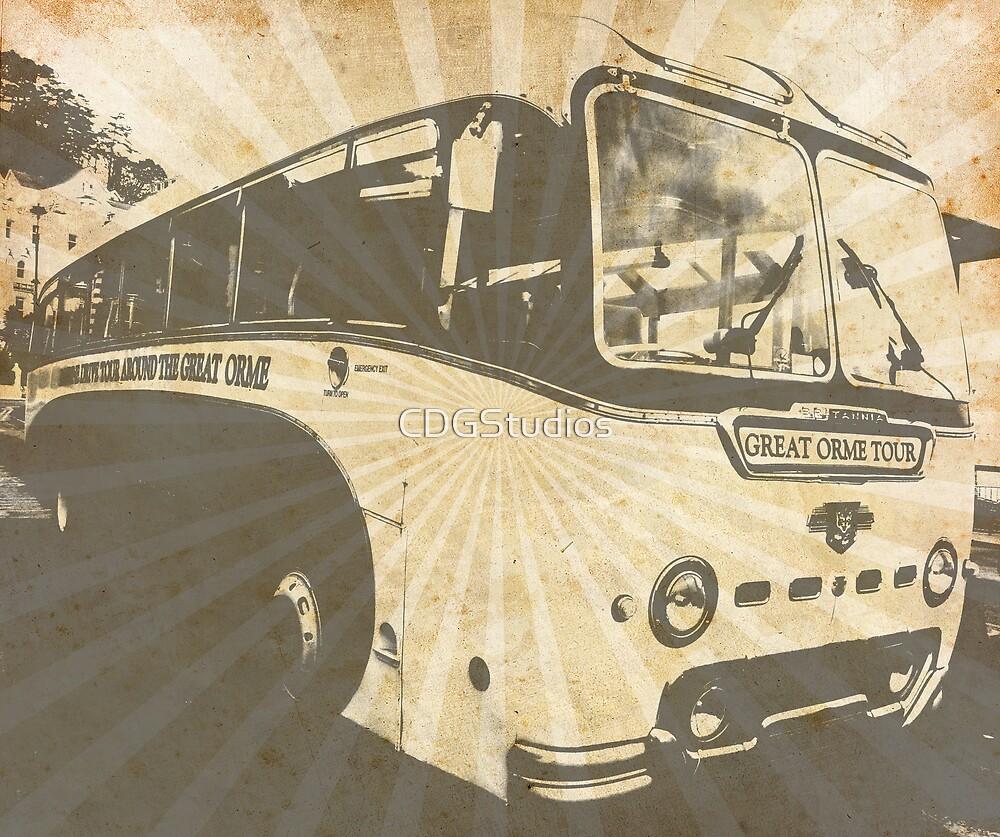 Llandudno Tour Bus Vintage Ray Effect - Grey by CDGStudios