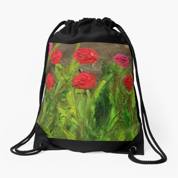 Flowers for Mommy Painting Drawstring Bag