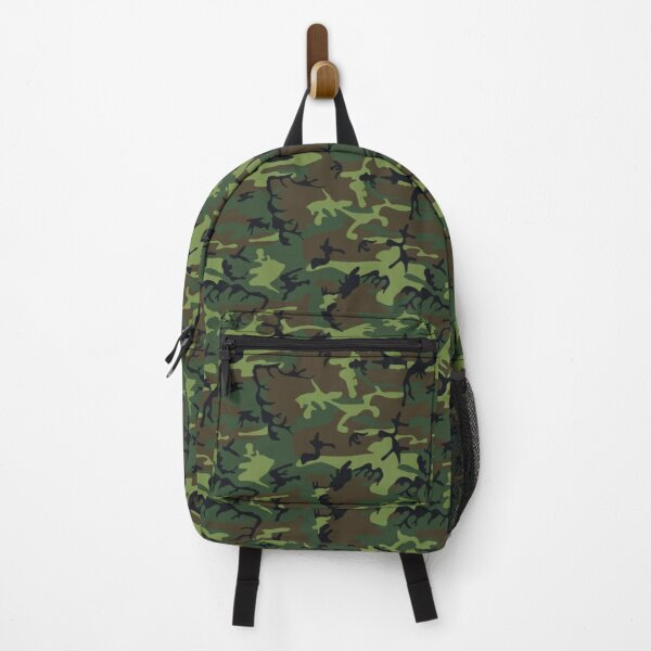 Green camouflage armed military soldier Backpack