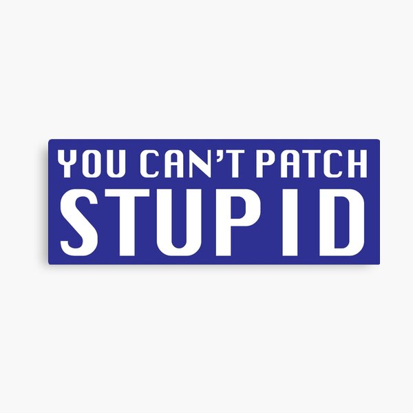 You Can't Patch Stupid Canvas Print