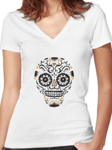 Sugar Skull SF -  on white Women's Fitted V-Neck T-Shirt
