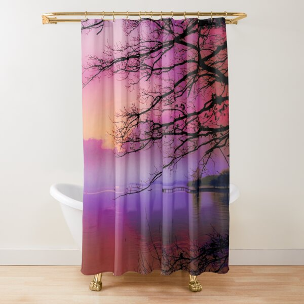 Lake purple scenic sunset Shower Curtain