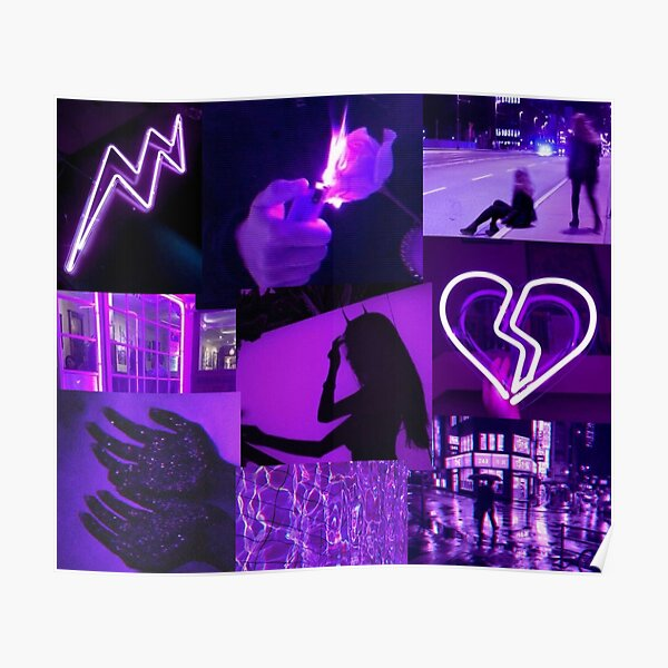 Neon Blue Aesthetic Collage Poster By Stuthiibhat4 Redbubble