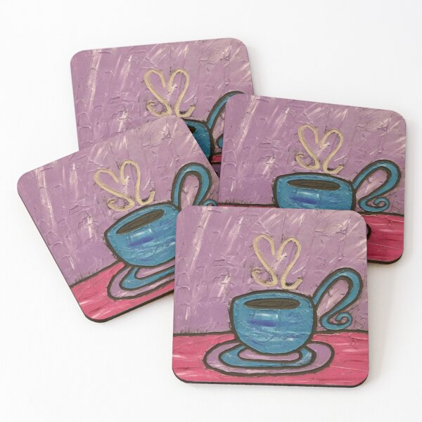 Coffee Cup Painting Coasters (Set of 4)