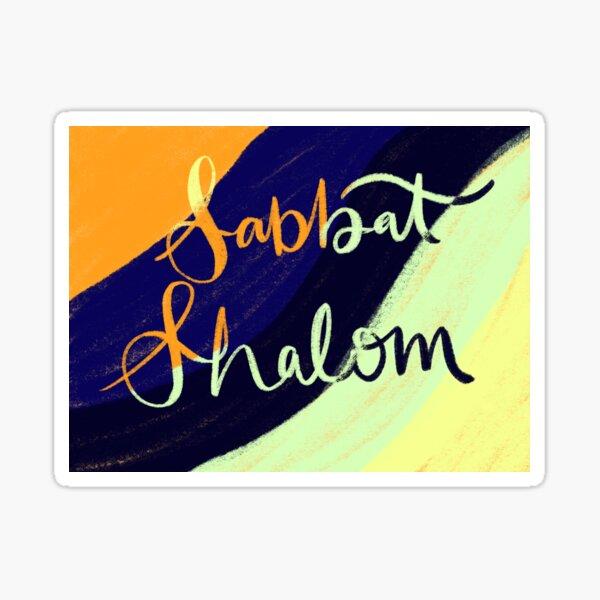 Shabbat Shalom color cursive design Sticker