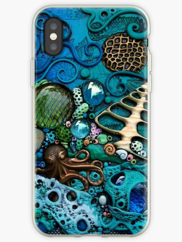 Blue Octopus Underwater Fantasy iphone ipod Cover by MandarinMoon