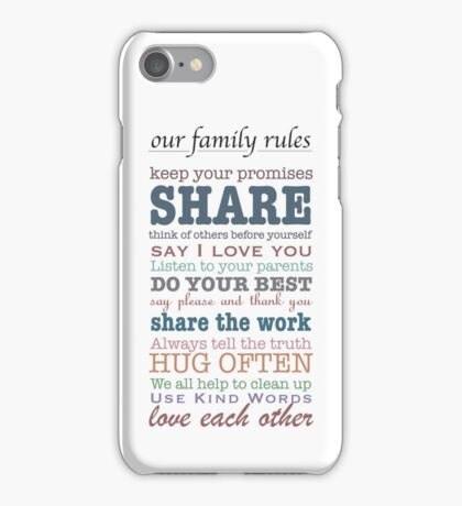 Our Family Rules (colour) iPhone Case/Skin