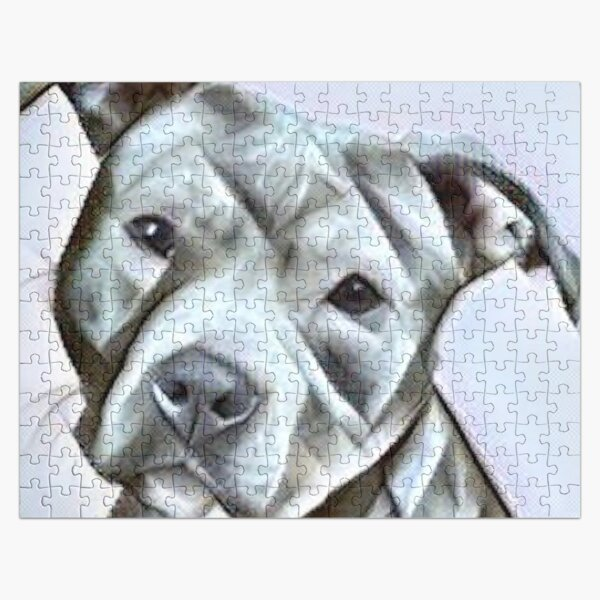 Pit Bull dog lover, a beautiful design of a Blue Nose PitBull of this gentle loyal breed Jigsaw Puzzle