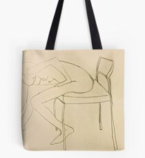 nude leans forward to touch toes Tote Bag