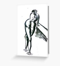 nude leans on bench Greeting Card