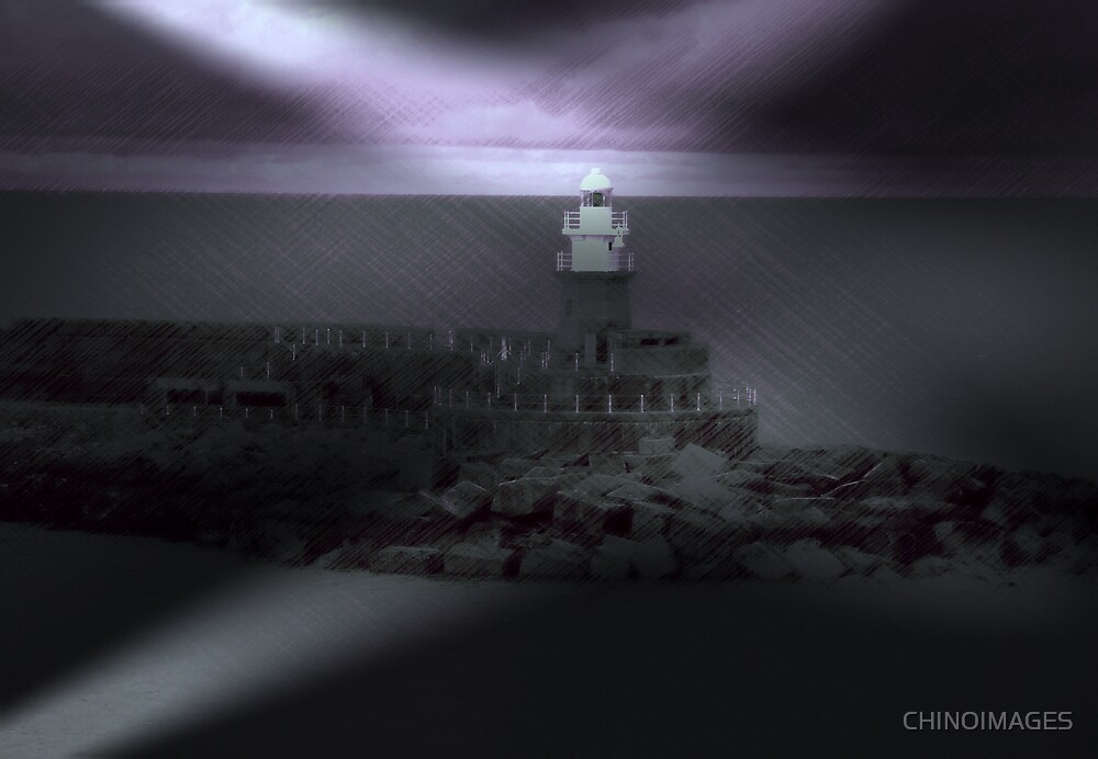 Fishguard Lighthouse (purple) by CHINOIMAGES