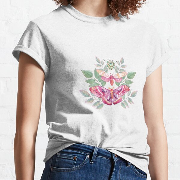 Butterflies and Beetle Magical trio pink & turquoise_watercolour Classic T-Shirt