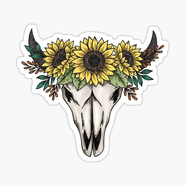 Cow skull with sunflowers Sticker