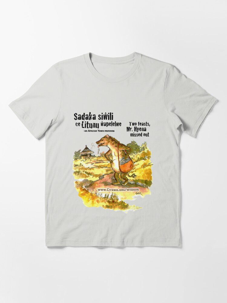 Alternate view of Mr. Hyena, Two Sadakas - black text Essential T-Shirt