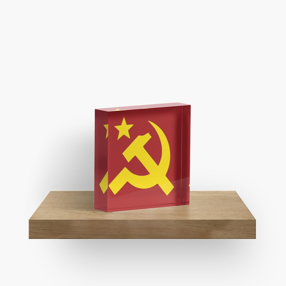 Communism Hammer Sickle Flag Acrylic Block