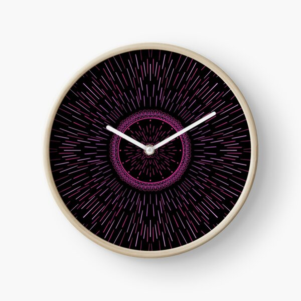 Pink Fireworks Burst Clock