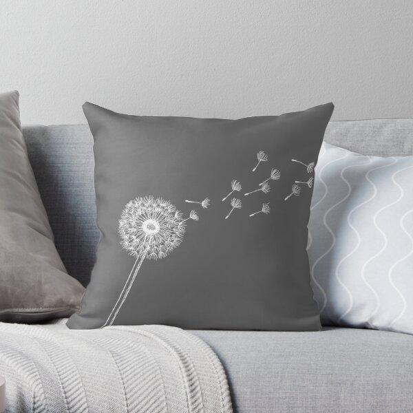 Dandelion, Grey, White, Wish, Flower, Summer Throw Pillow