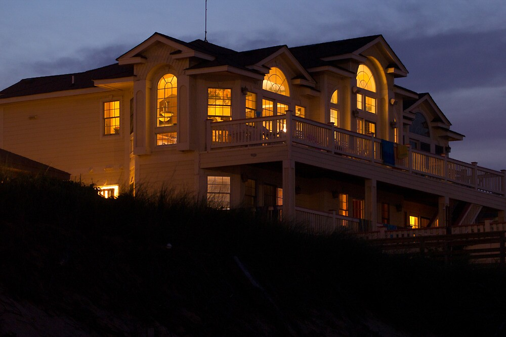 Beach House at Night by Dominic Perry