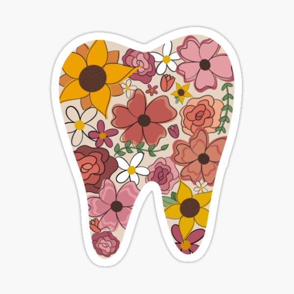 Warm Floral Tooth Sticker