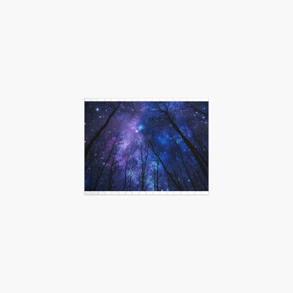 Black Trees Deep Blue Purple Space Jigsaw Puzzle