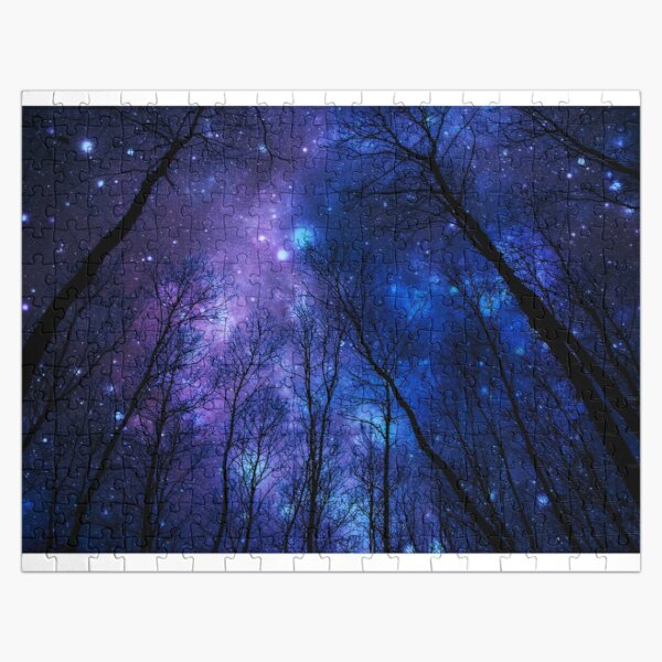 Black Trees Deep Blue Purple Space Jigsaw Puzzle