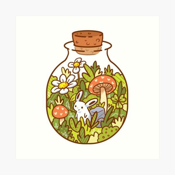 Bunny in a Bottle Art Print