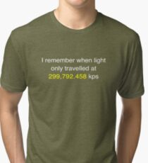 E=MC2  ?       Light Speed Tee (metric) Tri-blend T-Shirt