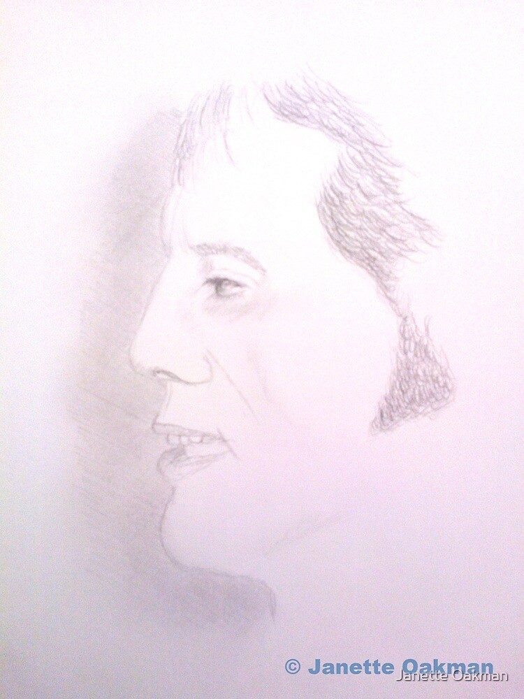 Male side profile - Pencil Portrait by Janette Oakman