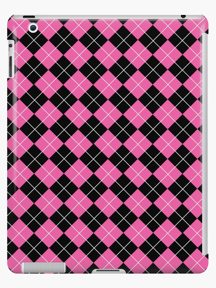 Pink and Black Argyle Plaid Checks Pattern by ArtformDesigns
