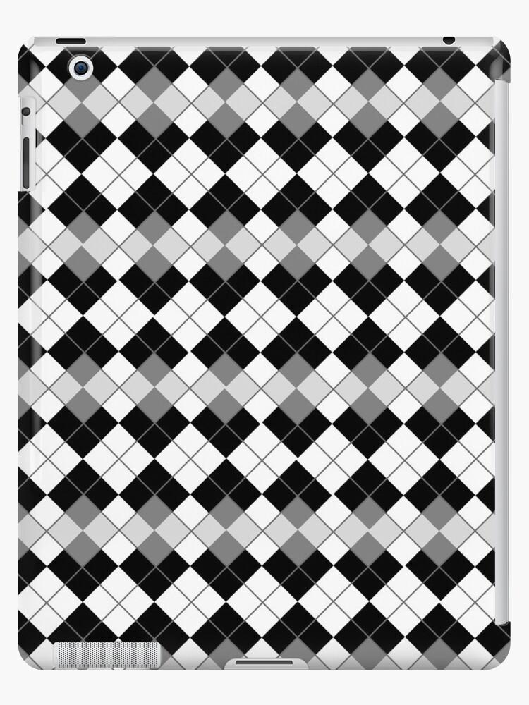 Black and White Argyle Plaid Checks Pattern by ArtformDesigns