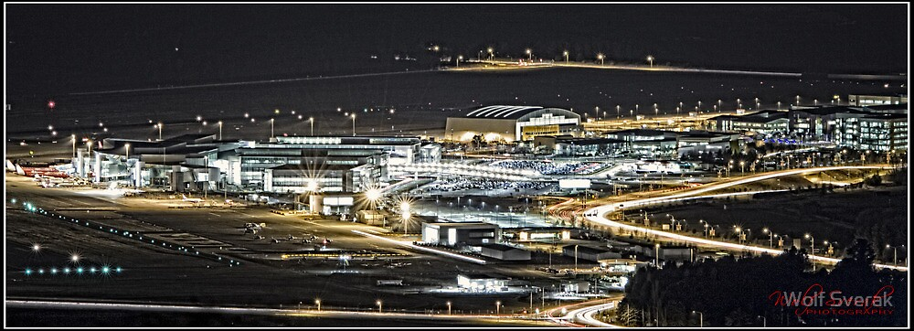 Canberra Airport - as seen at Night from Mount Ainslie by Wolf Sverak
