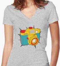 HOLGA COLOR Women's Fitted V-Neck T-Shirt