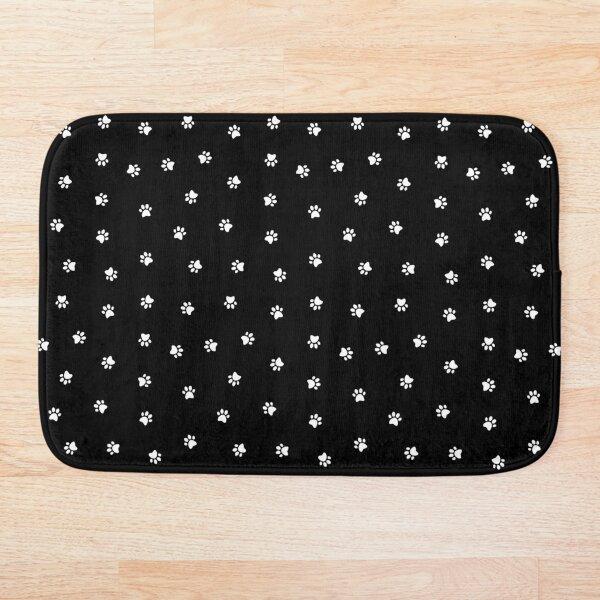 Cat Paw Print Black Bath Mat