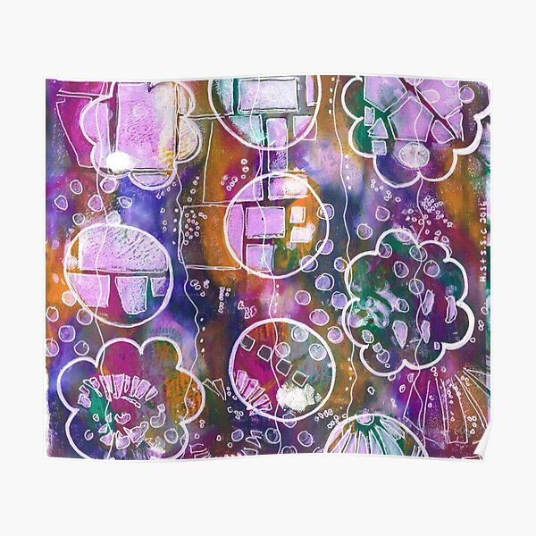 Flower and Circles Print Poster