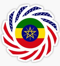Ethiopian American Multinational Patriot Flag Series Sticker