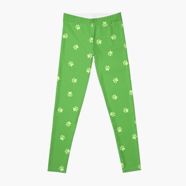 Cat Paw Print Green Leggings