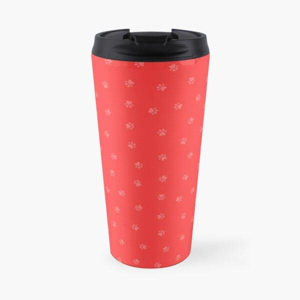 Cat Paw Print Red Travel Mug