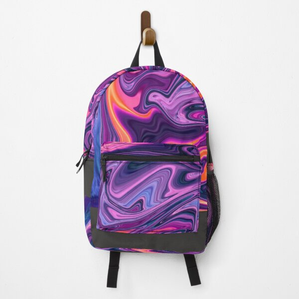 psychedelic wave purple pattern  Backpack