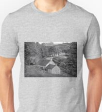 Cottages in the Trees - B&W Unisex T-Shirt