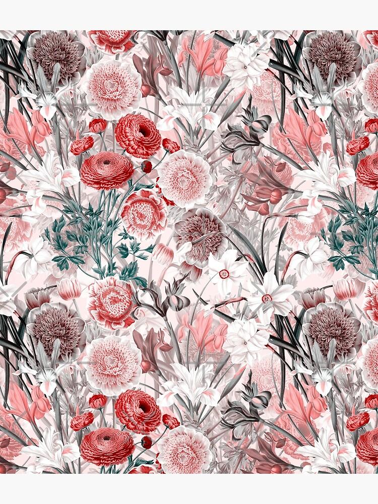 Vintage Sepia Flowers on Pink Pattern by UtArt
