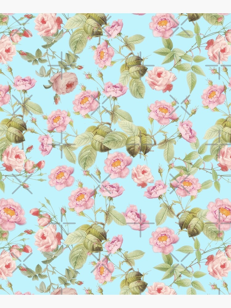 Old Vintage Roses on Teal Pattern  by UtArt