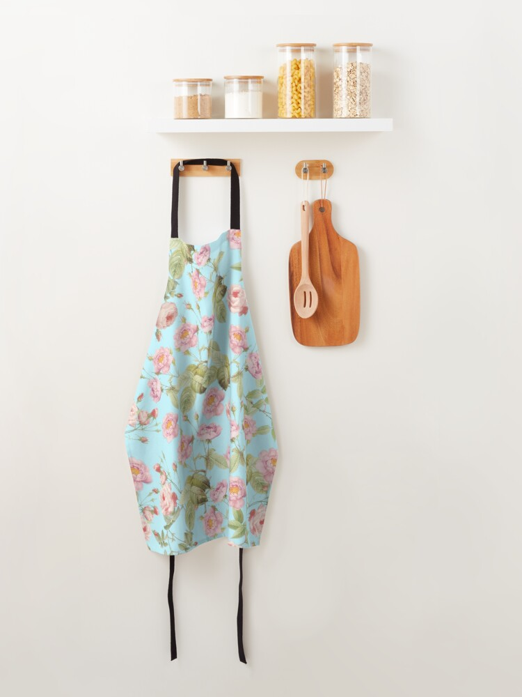 Alternate view of Old Vintage Roses on Teal Pattern  Apron