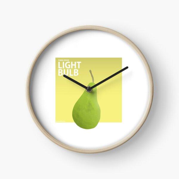 Green Pear illustration (Literal Danish) - Light Bulb Clock