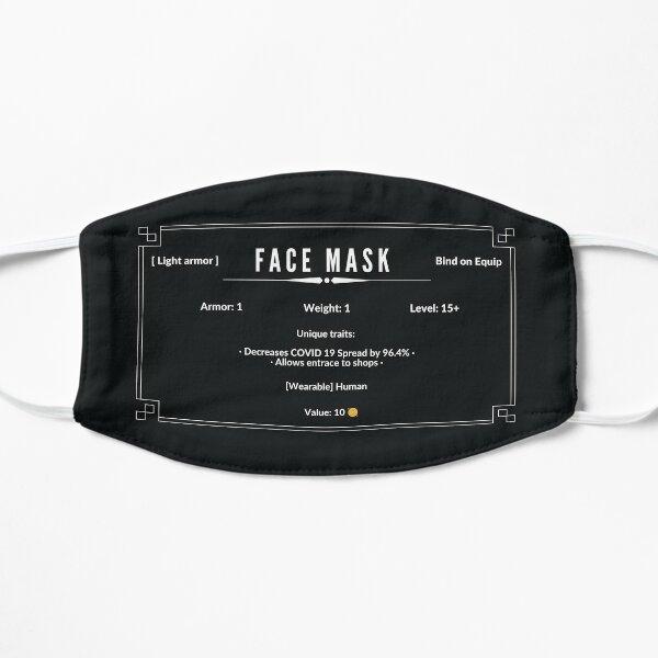 Descripción del artículo RPG: máscara facial Covid 19 con estadísticas Mascarilla plana