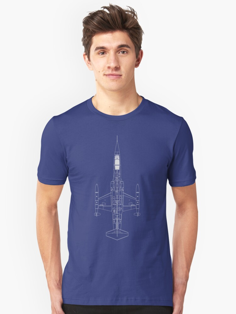 Lockheed F-104 Starfighter Blueprint Unisex T-Shirt Front