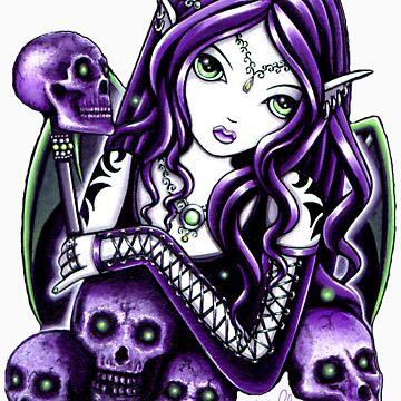 Belladonna Gothic Purple Skull Fairy by MykaJFairies